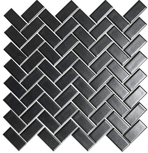 Mozaïektegel keramiek visgraat zwart mat voor muur bad douche keuken tegelspiegel tegelverkleeding badkuip mozaïekmat | 10 mozaïekmatten