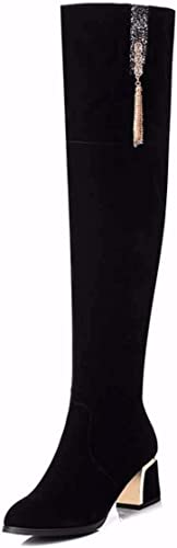 KOKQSX-Talon Haut 6 cm tête Ronde des Bottes Confortables Sauvage des Bottes des Bottes Femmes.