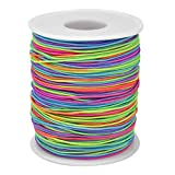 HQdeal 100 m Cordón elástico, Cuerda de Abalorios, Hilo de Nylon, Cuerda arcoiris, Rebordear Tela Hilo para Fabricación De Joyas DIY Abalorios Pulsera Collar 1mm