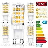 Chefic 5W G9 LED Lampe 5er Pack, 500 Lumens/ 3000K/...