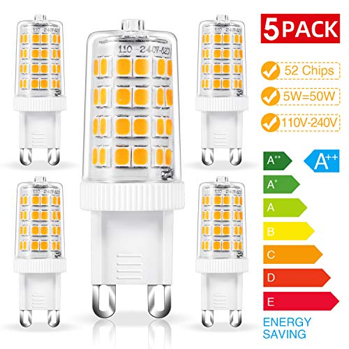 Chefic 5W G9 LED Lampe 5er Pack, 500 Lumens/ 3000K/ AC110-240V/ 52LED/ CRI 80+ Warmweiß G9 LED Leuchtmittel, 5W G9 LED ersetzt 50W Halogenlampen, Kein Flackern, Nicht dimmbar