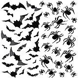 120 piezas Decoración Pared Murciélago Araña Halloween, Kalolary 3D Arañas Murciélagos Pegatinas Pared Calcomanías Miedo Halloween Interior Aire Libre Pared Hogar Accesorios Ventana Suministros Fiesta