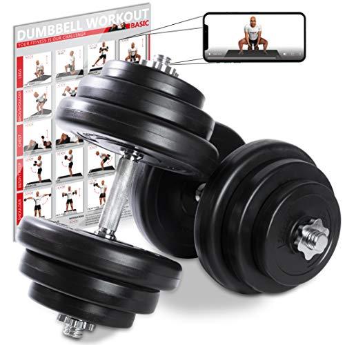 POWRX Kurzhanteln 2er Set Kunststoff 40kg (2 x 20kg) - Hantelstangen, Gewichte und Sternverschlüsse gerändelt 30/31mm