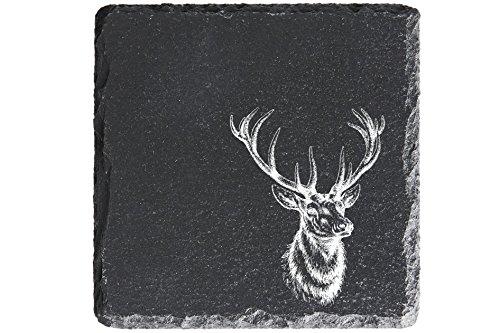 MCK-Handel Untersetzer Bedruckt anstelle Gravur - 4er-Set - Schiefer 10cmx10cm - Filzfüssen zum Schutz - Jäger mit dem Motiv Hirschkopf