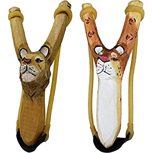 NatureLaunchers - Hand-Carved Wooden Animal Slingshot Set - 2 Pack - Cheetah & Lion