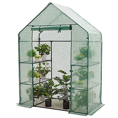 AMERLIFE Mini Walk-in Greenhouse 3 Tier 4 Shelves with PE Cover and Roll-Up Zipper Door,for Indoor Outdoor Use Extra Hooks and Wind Ropes, 77''x56''x29''