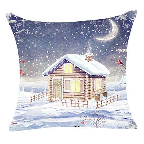 WWLDPTTCD Funda de cojín de Navidad Escena de Nieve Funda de Almohada Impresa Mezcla de algodón Funda de Almohada...