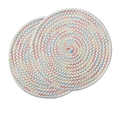 Coaster de bureau Sous-verres - 4pc ronde napperon Coaster Table Mat Coton Lin à tricoter Bowl Isolation Pad Antiderapant Set de table Accessoires de cuisine Décoration Grande maison et salle à manger