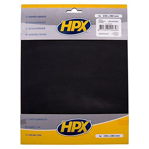 HPX 235940 Papier abrasif p240x1, p400x2, p600x1, Noir, Set de 4