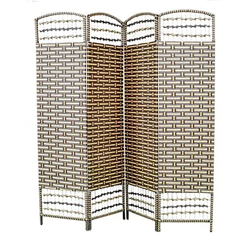 HOGAR Y MAS Biombo Separador de Madera Bambú y Papel Trenzado, Marrón Chocolate y Natural, 4 Paneles, Plegable 180 cm