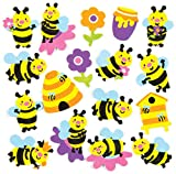 Autocollants abeilles en mousse que les enfants pourront utiliser pour décorer leurs collages, cartes et loisirs créatifs spécial été (Lot de 120)