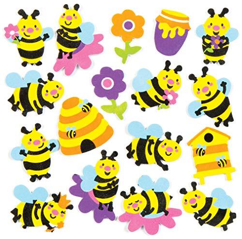 Baker Ross Aufkleber aus Moosgummi mit verschiedenen Bienenmotiven für Kinder zum Dekorieren und Verzieren von Karten, Sommercollagen und anderen Bastelarbeiten (120 Stück)