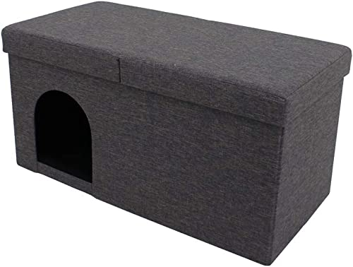 2021 SkyMall 4 in 1 discount Folding Hideaway Pet Storage Ottoman - discount Charcoal Gray online