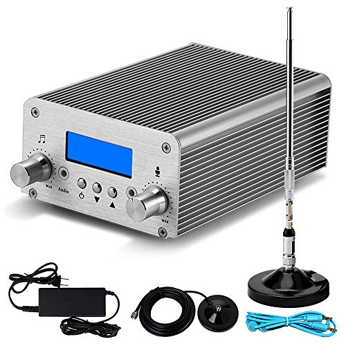 15W FM Transmitter for Church Bluetooth MP3 Broadcast Radio Station 87~108MHz Support Long Range 3280FT for Parking Lot Service Drive-in Movie