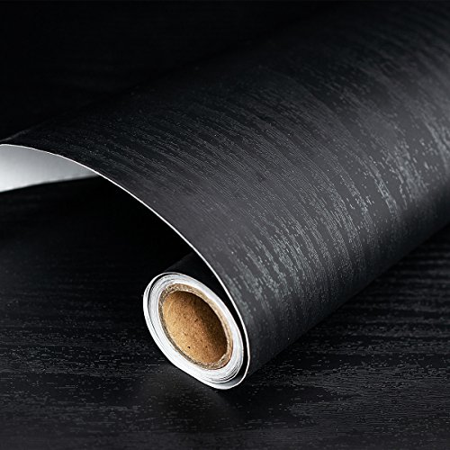 """Black Wood Wallpaper 17.71"""" X 196"""" Peel Stick Countertops, Authentic Wood Look, Durable, Thickening Home Office"""