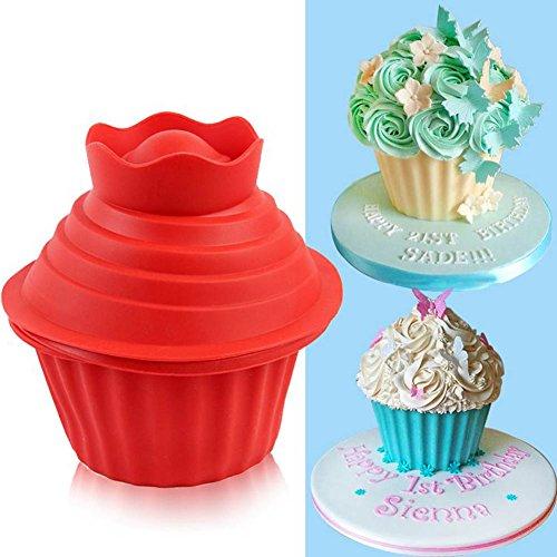 GEZICHTA Moules à gâteaux, 3pcs Single-Shaped Cupcake Fleur résistant à la Chaleur en Silicone Moule à pâtisserie Outils Cuisson en Silicone Maker Moule à Cupcake Hot géant, Red, Taille Unique
