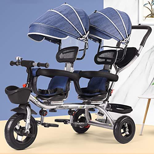 3 in 1 Baby Dreirad Zwillinge Dreirad Mit Korb, Abnehmbarer Baldachin, Mit Abnehmbarem Schiebegriff Fit Von 12 Monaten Bis 6 Jahren Jungen Mädchen,Blau