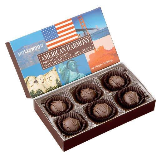 アメリカンハーモニー マカダミアナッツダークチョコ 6粒入 1箱