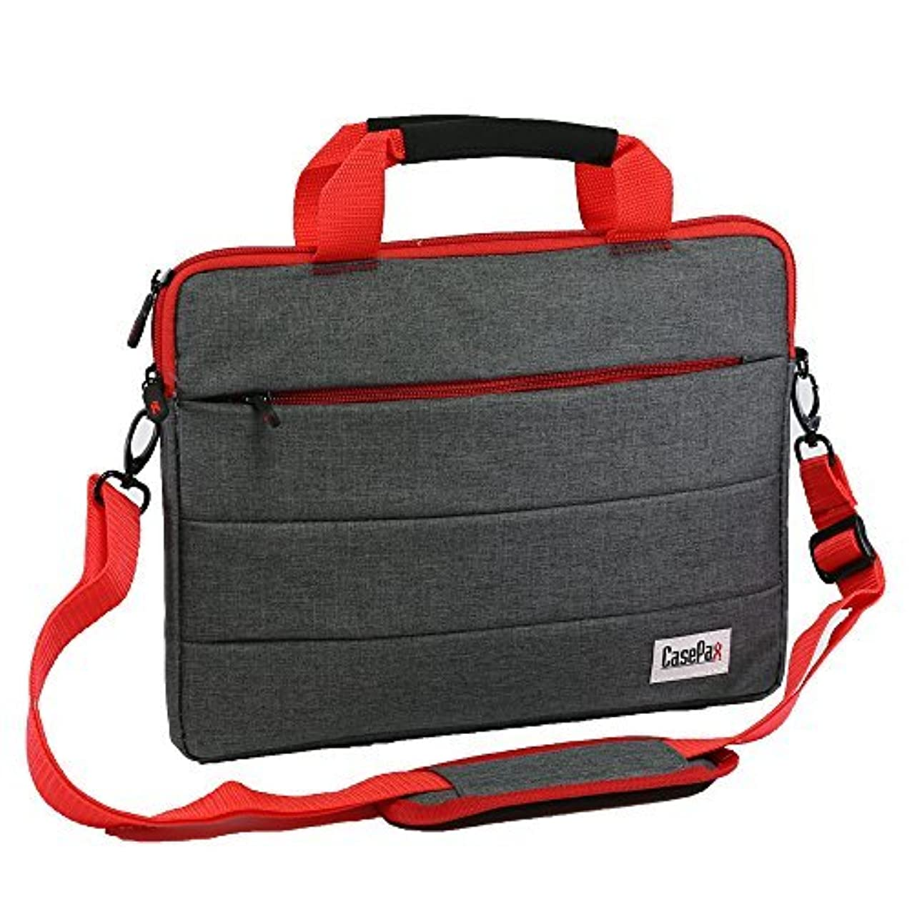 Casepax 12.1-Inch Laptop Computer Water-Resistant Shoulder Bag Case with BONUS Travel Accessories Pouch Case for Apple Asus Acer Lenovo Dell HP Notebook Chromebook Ultrabook MacBook, SL-713N-121 Red mphopoitxtohv584