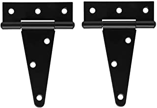 4 Inch Heavy Duty T Strap Shed Door Hinges 2 PCS Black Barn Door Gates Tee Hinge Wrought Hardware Iron Rustproof