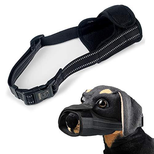 Elinala Maulkörbe Für Hunde, Maulschlaufe für Hunde, Einstellbare, Weiche und Atmungsaktive Reflektierende Hundemündung Verhindert das Beißen Essen und Bellen Bei Kleinen Mittleren Hunden (Schwarz M)