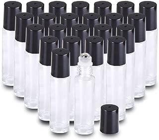 25PCS 10ml Clear THICK Essential Oil glass bottle Roller Bottles Steel Ball Roll on Bottle (3XDropper,2XBall Opener,2XFunnel)
