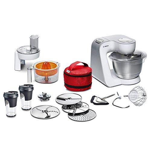 Bosch MUM5 CreationLine Küchenmaschine MUM58W56DE, große Edelstahl-Schüssel (3,9l), Flexi-Rührbesen, Zitruspresse, 2 Mixbecher, Durchlaufschnitzler, 1000 W, weiß/silber