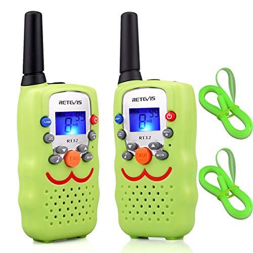 Retevis RT32 Walkie Talkie Niños PMR446 8 Canales VOX Linterna Pantalla LCD Walkie Talkie Juguete con Correa Regalo para Niños (Verde Claro, 1 Par)