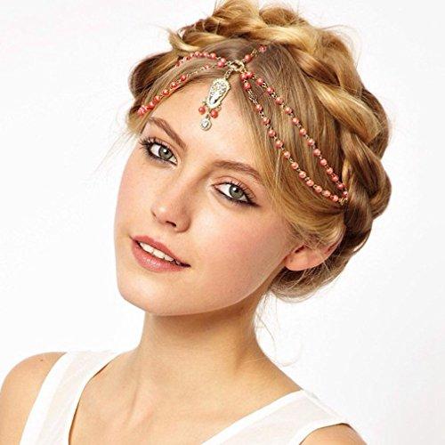 Yazilind Elegante Frauen Böhmen-Korne Gold überzog Stirnband-Haar-Zusätze