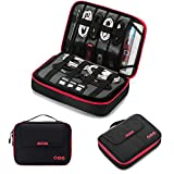 BAGSMART Universal Travel Cable Organizer Electronics Accessories Carry Bag for 9.7 inch iPad, Kindle, Power Adapter, Black + Red