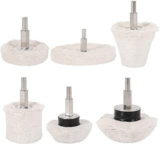 Scorpiuse 6Pcs White Flannelette Polishing Mop Wheel Cone Column Mushroom T-Shaped Wheel Grinding Head Polishing Tool for Metal Aluminum/Stainless Steel/Chrome/Jewelry/Wood/Plastic/Ceramic/Glass,etc