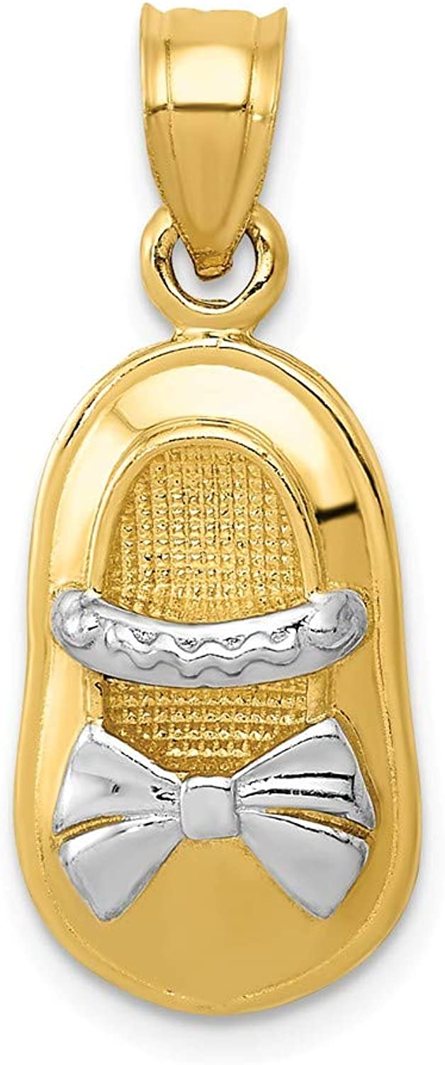 Diamond2Deal 14k Yellow gold Rhodium Plated Polished Girl shoes Pendant