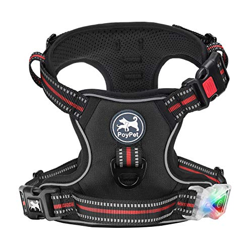 PoyPet LED Flashing Light No Pull Dog Harness Front 3M Reflective Pet Vest for Dogs with Easy Control Handle 3 Buckles Perfect for Daily Training,Walking Running(Black,M)