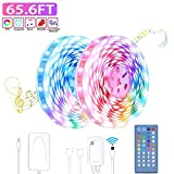 Music LED Strip Lights 65.6ft - Ultra-Long LED Light Strip with Remote - LED Lights 20m 600LEDs RGB Power Strip with UL Listed Adapter for Bedroom Ceiling Under Cabinet Children's Room