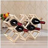 ICYANG Étagère à vin pliable en bois rouge pour 10 bouteilles de cuisine, bar, restaurant, vin, étagère de rangement (Burlywood)