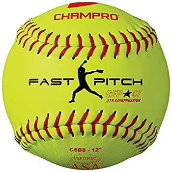 Champro Game ASA Fastpitch .47 COR 375 Compression Poly Synthetic Cover Red Stiches  Optic Yellow 12-Inch  Pack of 12