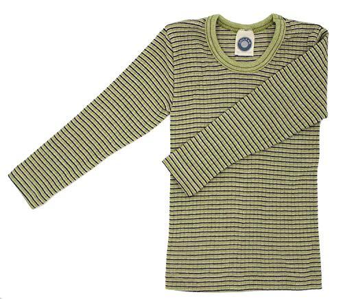 Cosilana Kinderhemd, Größe 140, Farbe Grün-Pflaume-Natur - Exclusiv Wollbody®GmbH - Qualität 91 45% Baumwolle KBA, 35% Schurwolle kbT, 20% Seide
