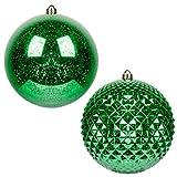 Art Beauty - Bolas de Navidad para árbol de Navidad tamaño Grande inastillables de Mercurio (Verde, 20 cm)