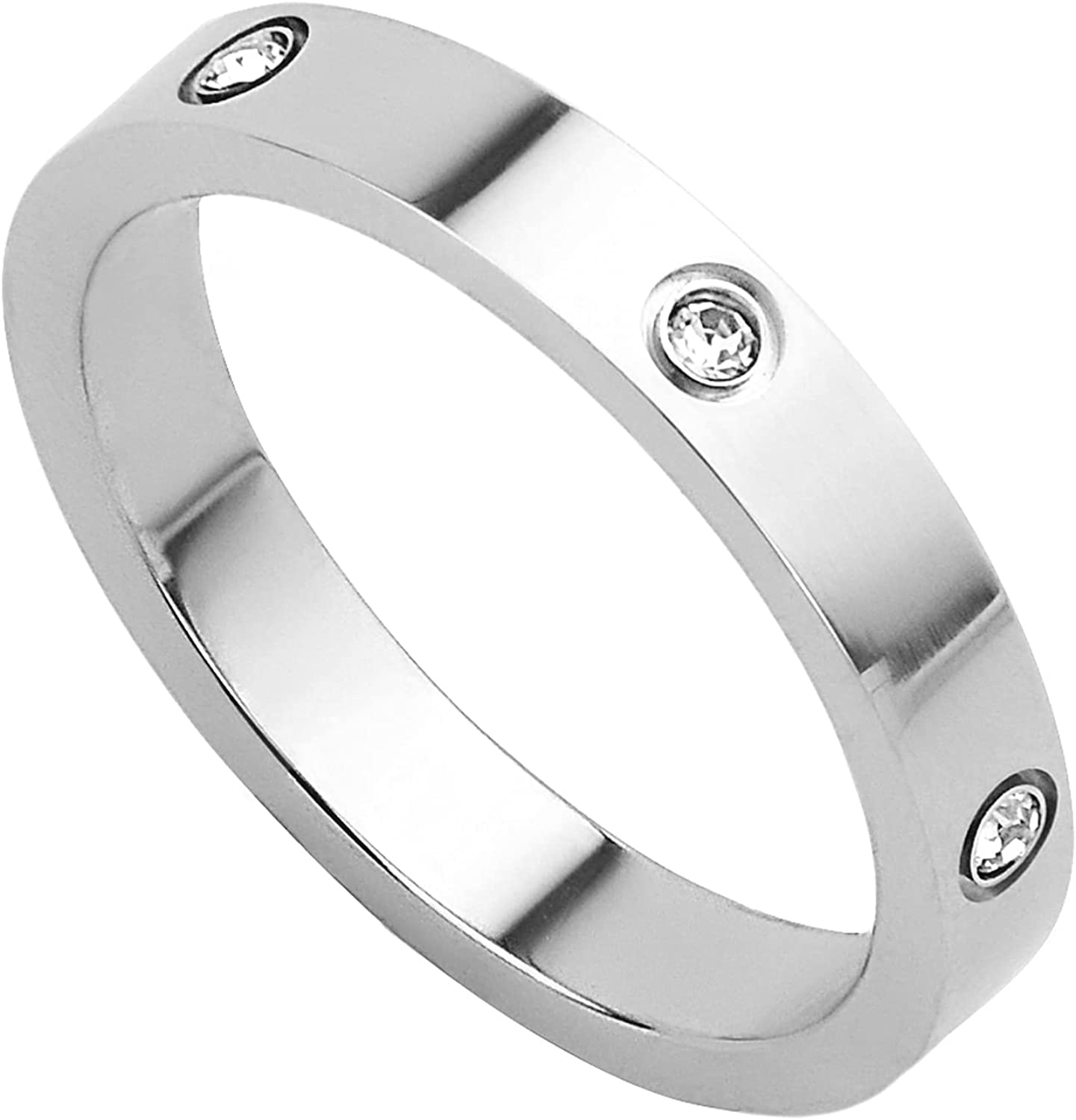 KouGeMou Fashion Stainless Steel Ring Marry Diamond Rings Simplicity Finger Ring Jewelry Couple Gifts for Women&Men Size 6-11