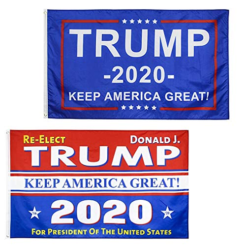 Qvatox 2 Pcs Donald Trump 2020 Flag Keep America Great Again Flag Banner Vivid Color and UV Fade Resistant 3ft x 5ft with Grommets Double Stitched
