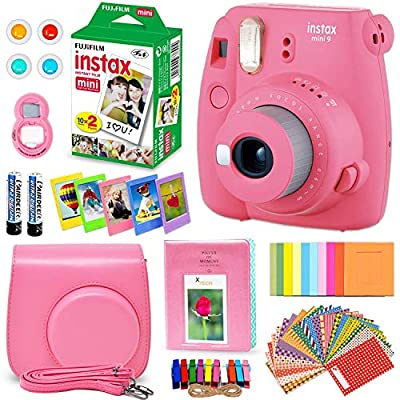 Fujifilm Instax Mini 9 Instant Camera + Accessory Kit, Includes: INSTAX Film (20 Pack) + Custom Case + Assorted Frames + Photo Album + 4 Color Filters + Large Selfie Mirror + More by