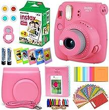 FujiFilm Instax Mini 9 Instant Camera Flamingo Pink + Fuji INSTAX Film (20 Sheets) + Custom Camera Case + Instax Album + 60 Colorful Stickers + 20 Emoji Stickers + Fun Frames + Colored Filters + More