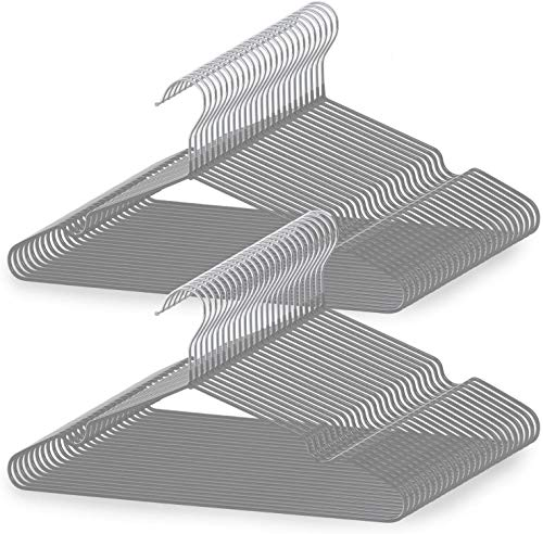 tkone ハンガー 50p 洗濯ハンガー 衣類ハンガー PVC特殊ラバー加工 すべらない 滑り止め 変形にくい 収納 hanger スーツ スリム 多機能 乾湿両用 (グレー)
