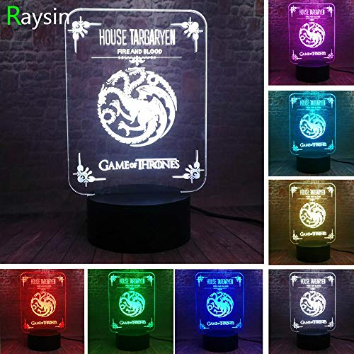 Haus Targaryen Logo Dragon Totem Spiel TV Drama Thrones Auto Ein Lied von Eis und Feuer Weihnachtsspielzeug 3D LED Nachtlicht USB Tischlampe Kinder Geburtstag Geschenk Nachtbett Dekoration