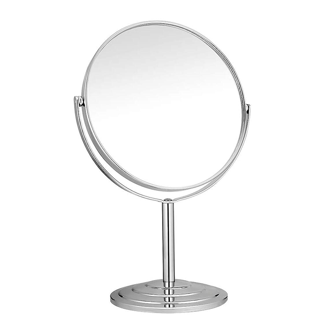 お学習批判的RAAKIMO 卓上化粧鏡 メイクミラー 3倍拡大鏡+等倍鏡 両面型 スタンド 360度回転 シルバー (鏡面15cm)