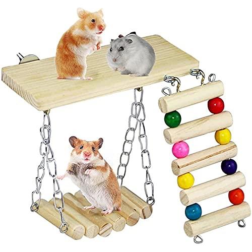 cakunmik Hamster Toys Hamsters de Madera Escalada Escaleras Swings Juguetes de mascar Playa de pie Plataformas Pequeños Juguetes Deportivos de roedores