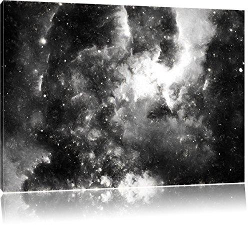 Pixxprint Nebelgalaxie und Sterne als Leinwandbild | Größe: 80x60 | Wandbild| Kunstdruck | fertig bespannt