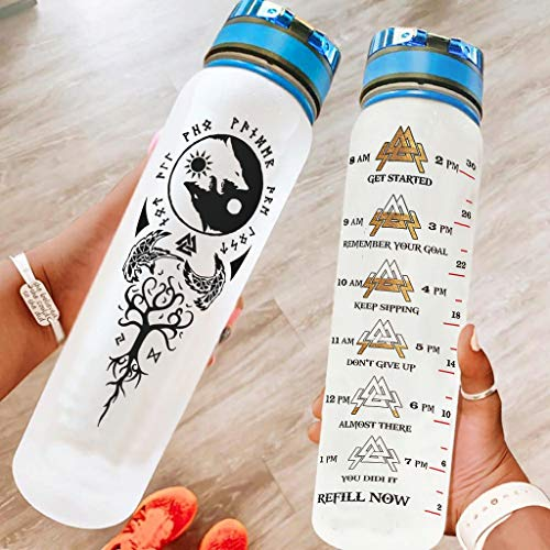 Chicici Fashion Botella deportiva a prueba de fugas Vikings, diseño de cuervos, Yin Yang Wolf, botella con correa de crayo para entrenamiento, color blanco, 1000 ml