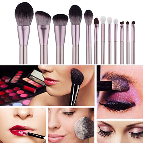 Pinceau De Maquillage, Ensemble De Pinceaux De Maquillage, Ensemble De Pinceaux En Fibre Pour Femmes Filles Foundation Face Powder 12Pcs Brush Set