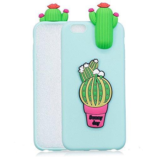 Funluna Cover per Apple iPhone 6S / 6, 3D Cactus Modello Ultra Sottile Morbido TPU Silicone Custodia Antiurto Protettiva Copertura Flessibile Gomma Gel Back Cover per Apple iPhone 6S / 6